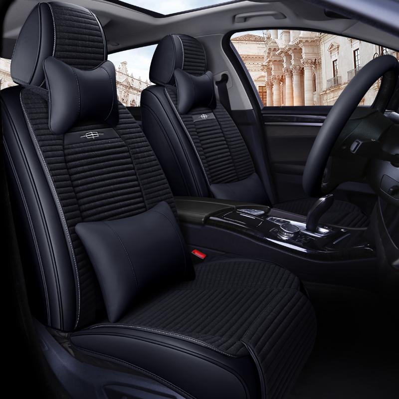 新款汽车座套四季通用亚麻全包荞麦壳座垫皮夏季车坐垫网红座位套
