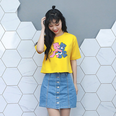 Short-sleeved T-shirt female summer new short body shirt Korean version of the tide brand student bottoming shirt half sleeve loose wild top