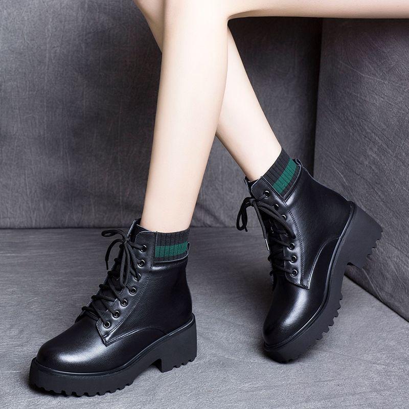 加绒\\\/单马丁靴女英伦风2020秋冬新款保暖增高短靴女学生网红潮鞋