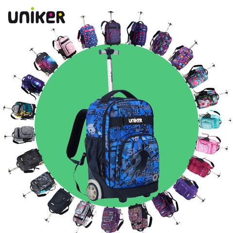 UNIKER小学生4-6年男女学生拉杆书包 初中生书包轻便18寸25升背包
