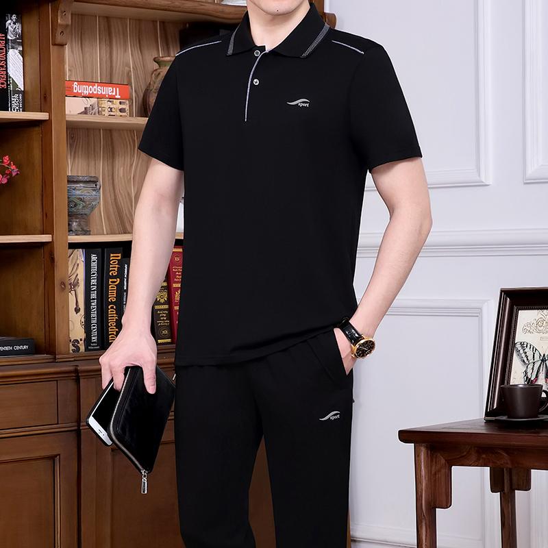 怡安踏雪男士夏季短袖T恤中老年运动套装大码长裤运动服爸爸夏装