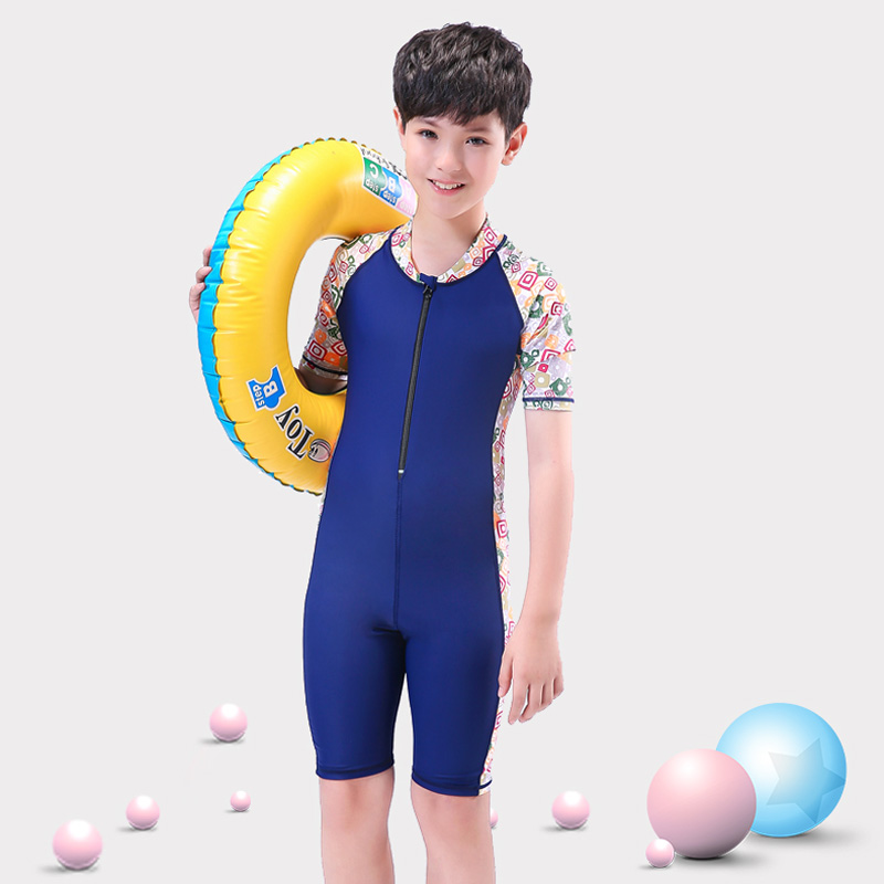 ee4ccd2aaf ... Children's swimwear conjoined big boy suit XL fat baby boy 8-12-15 years