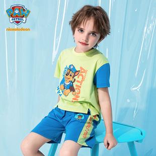 汪汪队儿童短袖套装男童T恤短裤2件套2021夏季新款男宝宝纯棉套