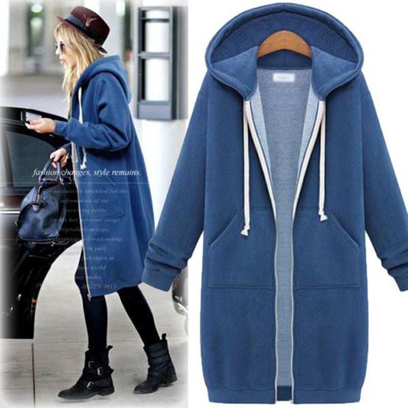 欧洲站2020秋冬新款大码女装连帽长袖卫衣加绒中长款加厚开衫外套