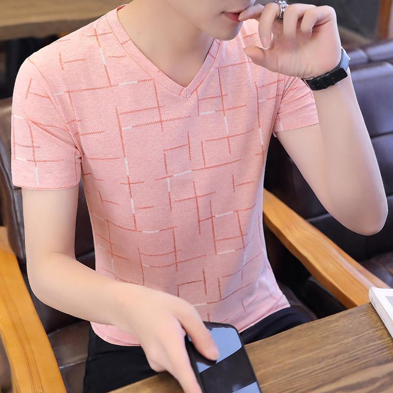 男士短袖T恤v领夏季韩版修身薄款冰丝半袖衣服简约百搭休闲体恤