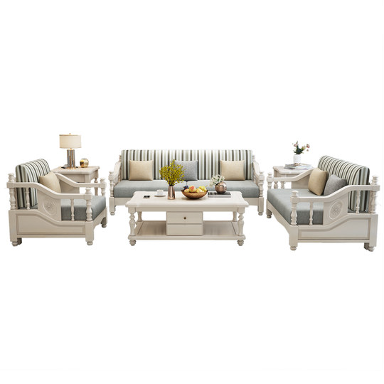 Small American solid wood sofa 123 people combined white detachable L-turn corner Guo tea several hall seats