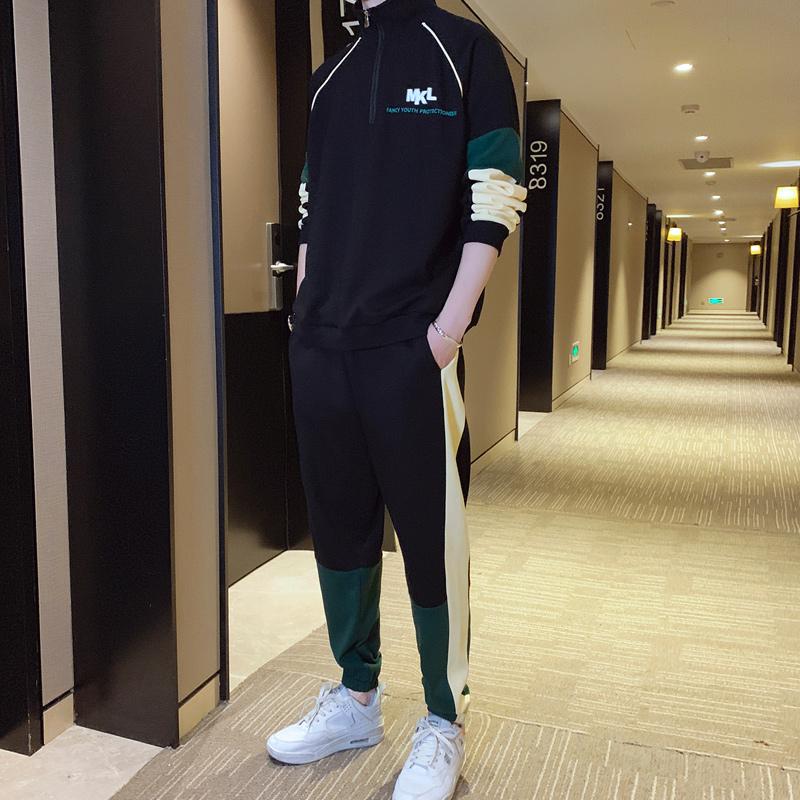 Bộ đồ thể thao nam mùa xuân và mùa thu thanh niên Bộ đồ hai mảnh thời trang nam thể thao giản dị quần áo thoáng khí chạy bộ đồ hai mảnh - Thể thao sau