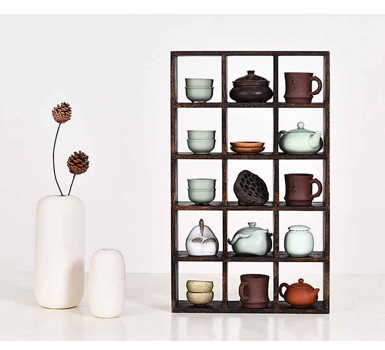 【興達生活】實木多寶閣茶杯架子茶壺架茶具收納置物展示架茶架中式博古架50格`11987