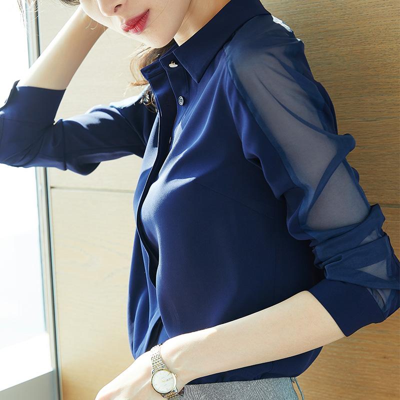衬衣气质女职业春装2020雪纺韩版大码宽松显瘦小众v衬衣感长袖衬衫