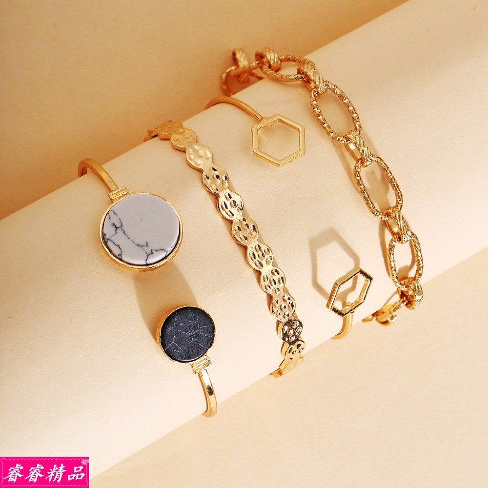 bangle Fashion jewelry geometric hand chain bracelet set手饰