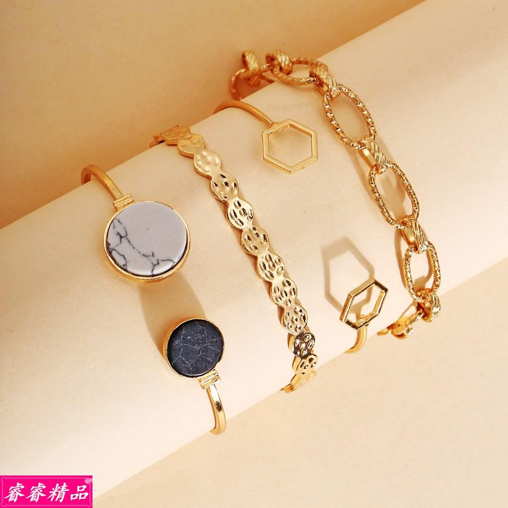 bangle Fashion jewelry geometric hand chain bracelet set手饰