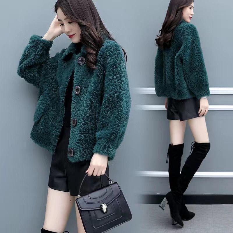 禅羽正品女装绒毛一体外套秋冬季仿羊羔毛外套女短款宽松流行大衣
