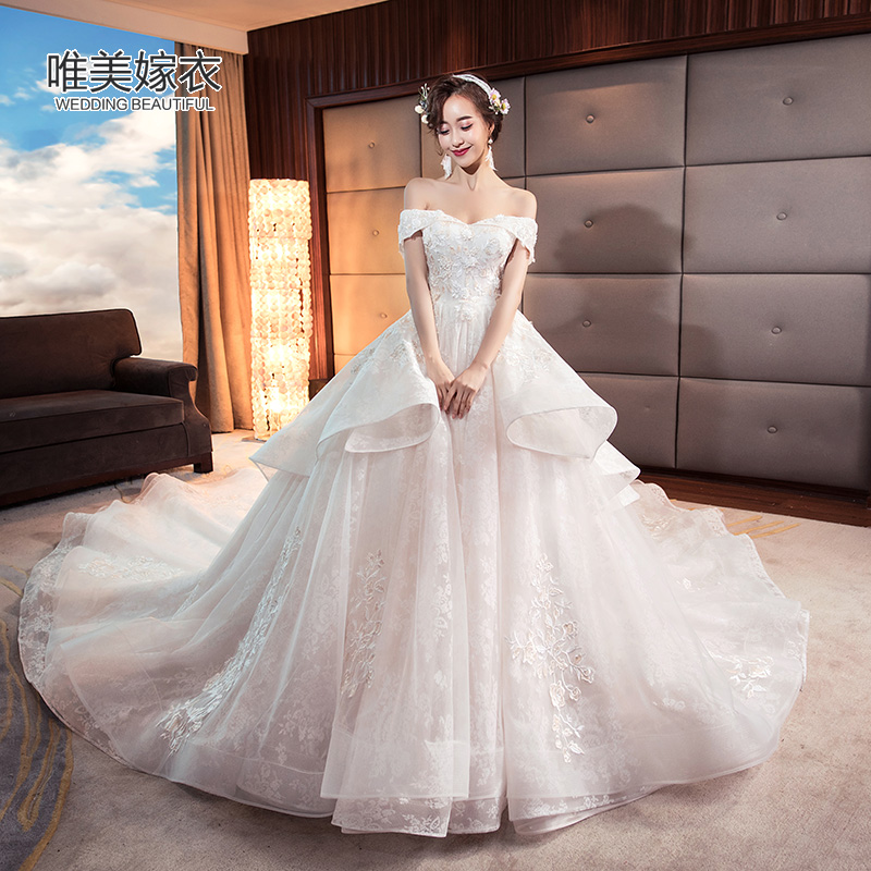 One Word Shoulder Wedding Dress 2020 New Bride Married Korean Size Size Pregnant Woman Simple Princess Dream Luxury Long Tail,Stylish Beautiful Dresses To Wear To A Wedding As A Guest