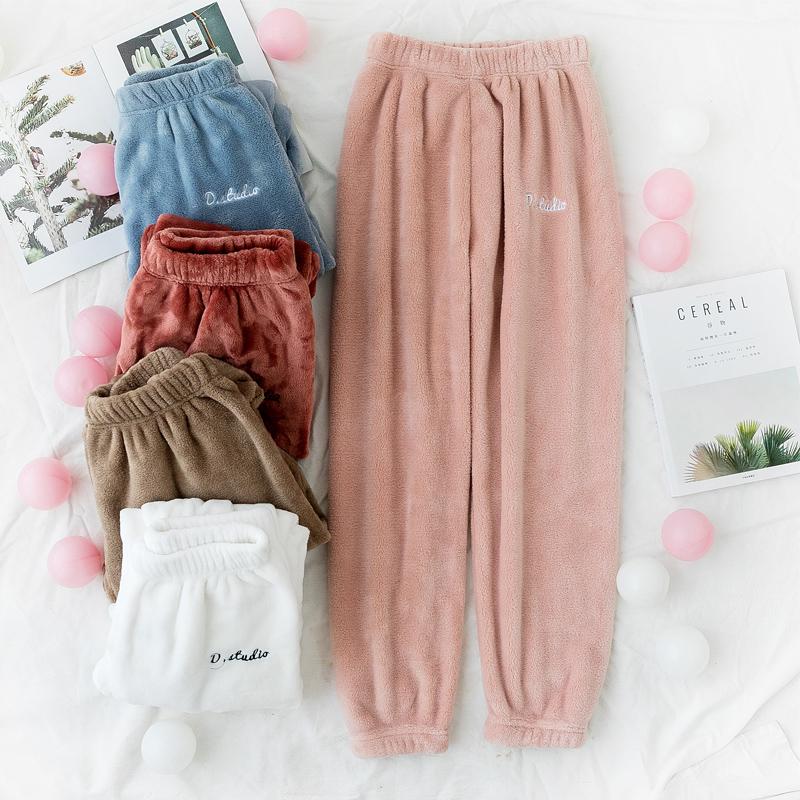仙女暖暖裤珊瑚绒宽松束脚紧腰刺绣休闲裤