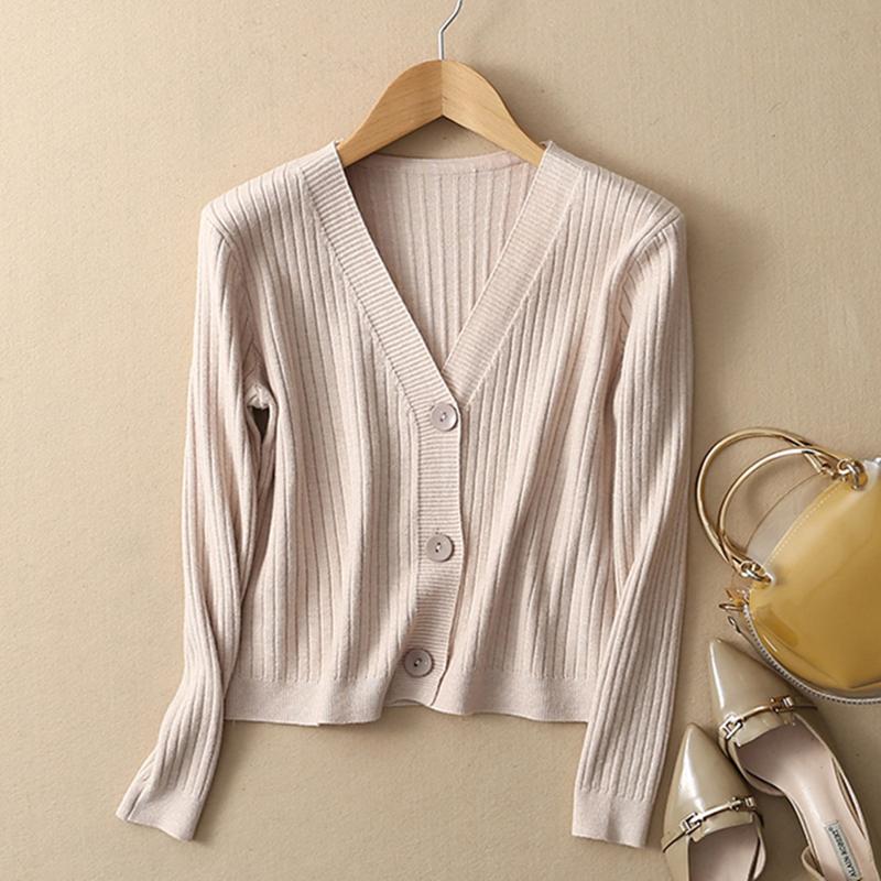 晚晚复古风开衫针织短款三扣高腰外搭小毛衣港味V领显瘦外套打底