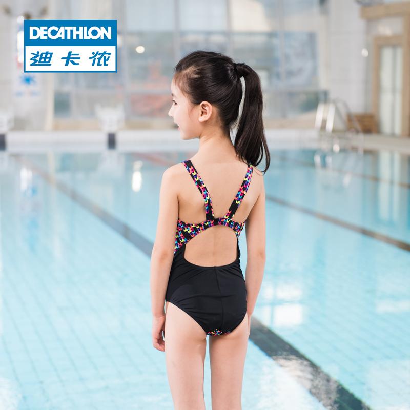 aecd9634b87fd Decathlon Girls Girls One-Piece Swimsuits Children Comfortable Chlorine  Print Cute Spa Swimwear NAB E