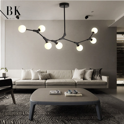 Nordic post-modern creative personality glass ball chandelier molecular structure tree type bedroom living room dining room lamps