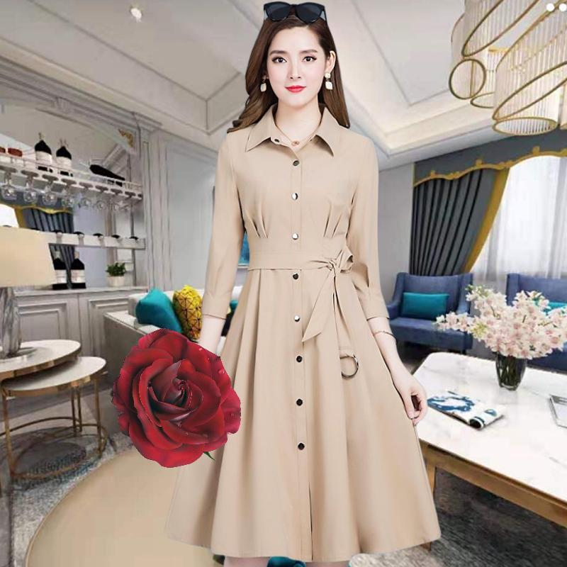 好质量女装女中长款2019新款气质外套修身显瘦风衣8033#