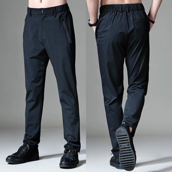 Ice silk sports pants men loose elastic breathable thin pants large size quick-drying pants straight summer ultra-thin casual pants