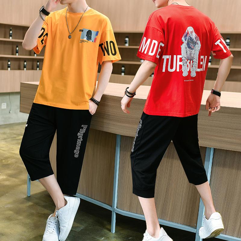 学生短袖男套装休闲运动夏季洋气五分七分裤青少年件套宽松两短裤