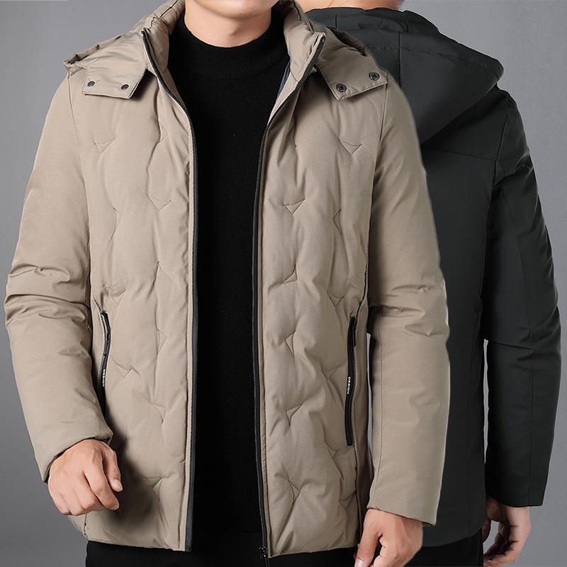 四五十岁爸爸的秋冬穿的薄款棉衣有帽羽绒棉袄子30岁潮男冬衣服装