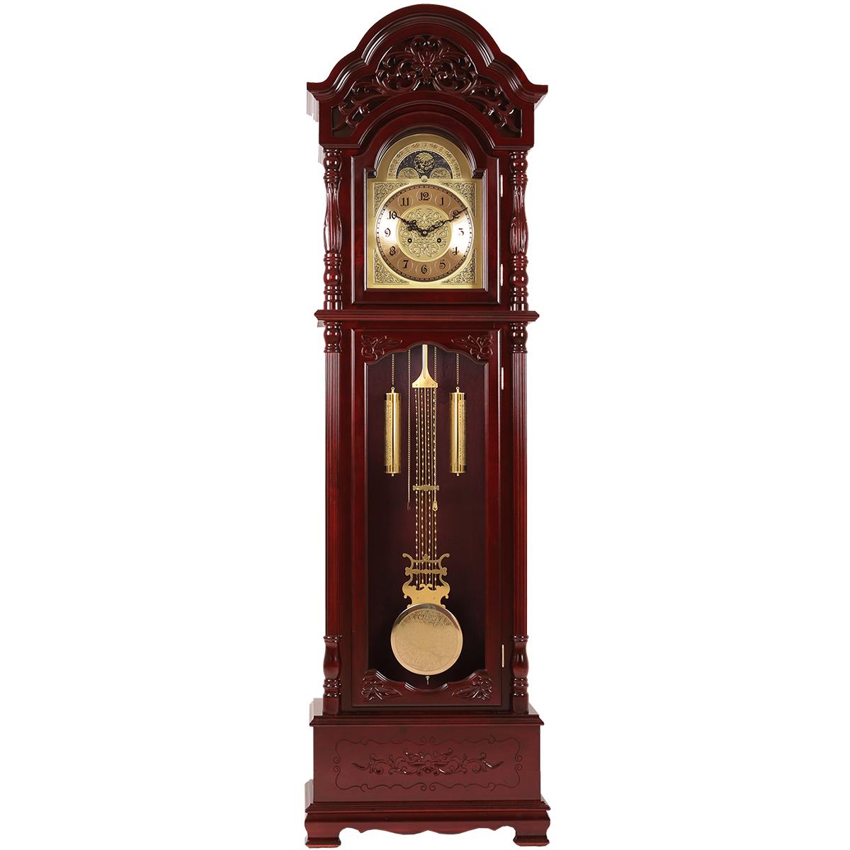 實木古典立鐘北極星立式鐘表中式落地鐘歐式客廳擺鐘報時機械座鐘