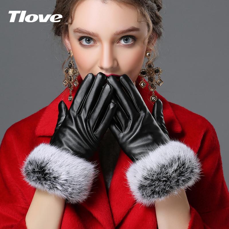 可触摸屏加绒加厚兔毛口皮手套
