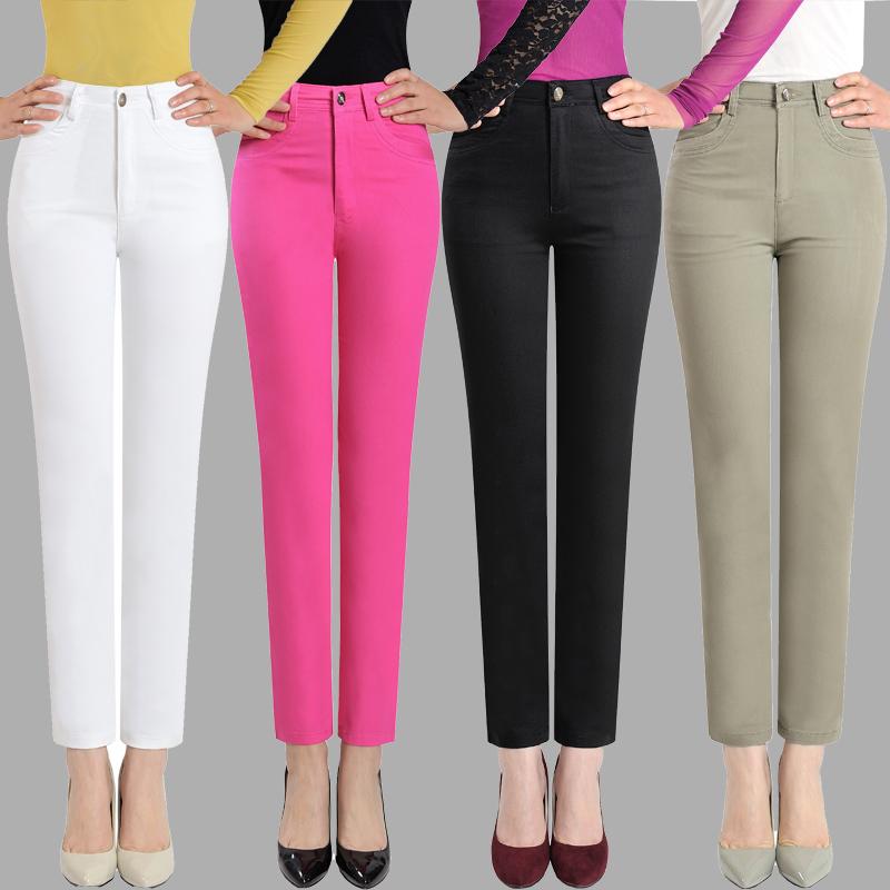 夏季女裤 纯棉高腰弹力小直筒白色薄款9分休闲裤 中老年九分裤