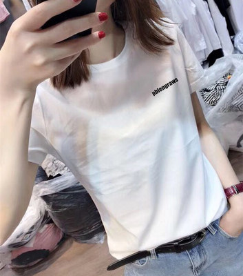 European station 2021 summer new European goods fashion short-sleeved T-shirt female silk cotton loose simple wild tide