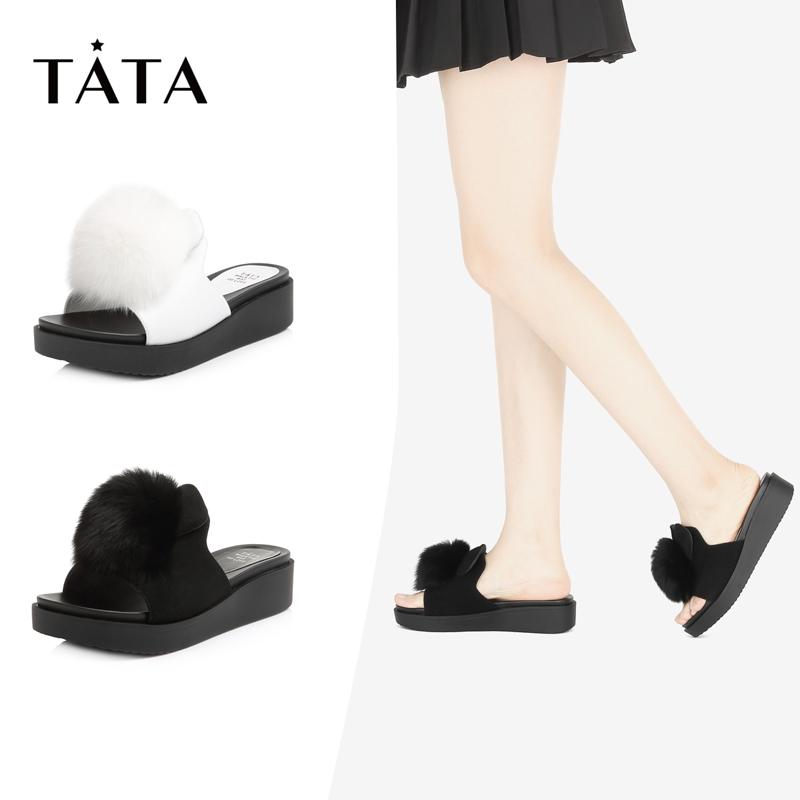 Tata-他她2018夏專柜同款絨毛球女涼拖坡跟拖鞋S2208BT8