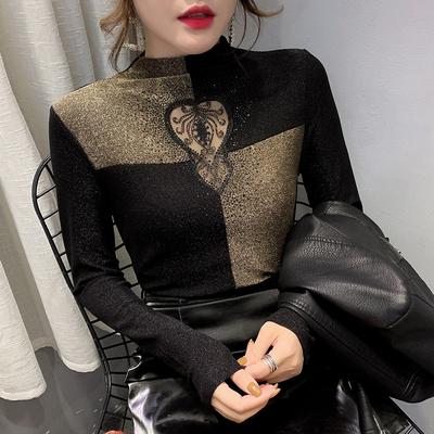 秋冬装洋气高贵镶钻半高领长袖t恤女欧洲站精致百搭保暖打底衫潮