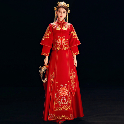 Mandarin duck, fish and grass dress bride's Chinese wedding dress in 2019