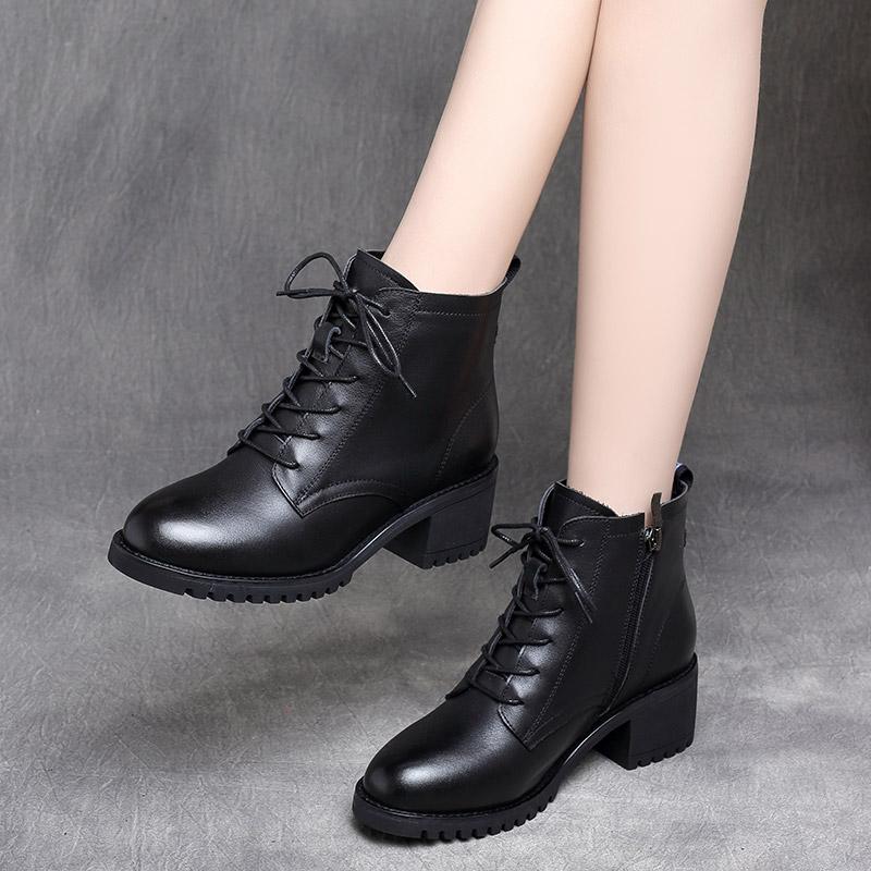 Giày bốt Martin nữ 2019 mới Giày da hoang dã phong cách Anh dày gót nhỏ, bốt ngắn nữ thấp bốt mùa đông cộng với nhung - Giày ống