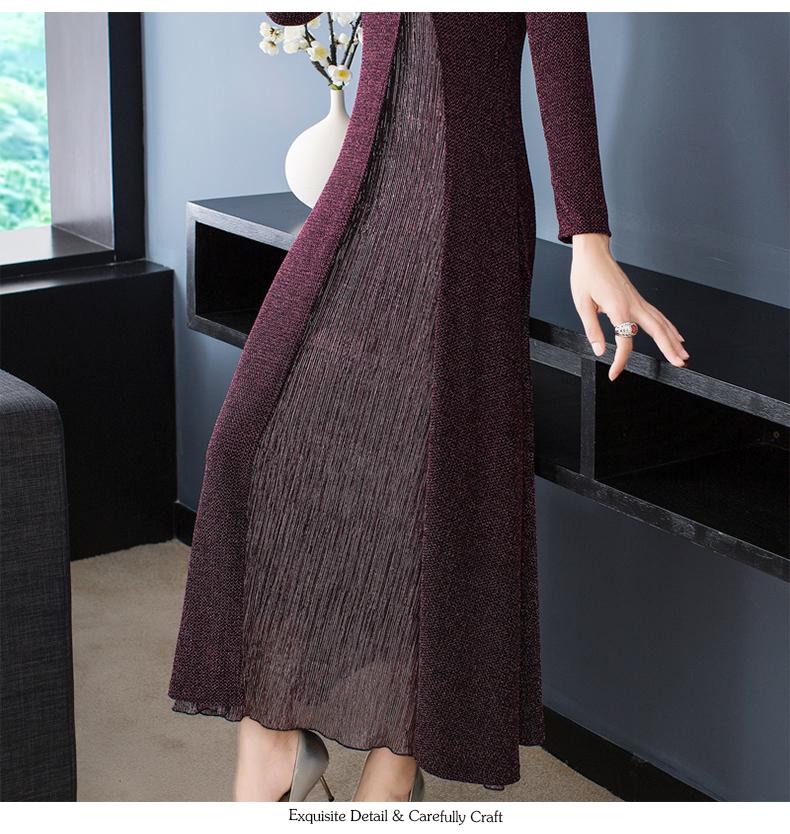 【狐婷】春款女装新款红色修身针织裙长袖改良旗袍洋装女详细照片