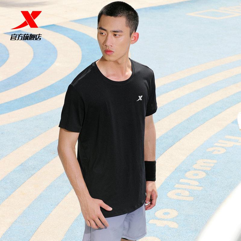 特步运动短袖T恤男2021夏季薄款速干衣男装冰丝体恤上衣健身半袖