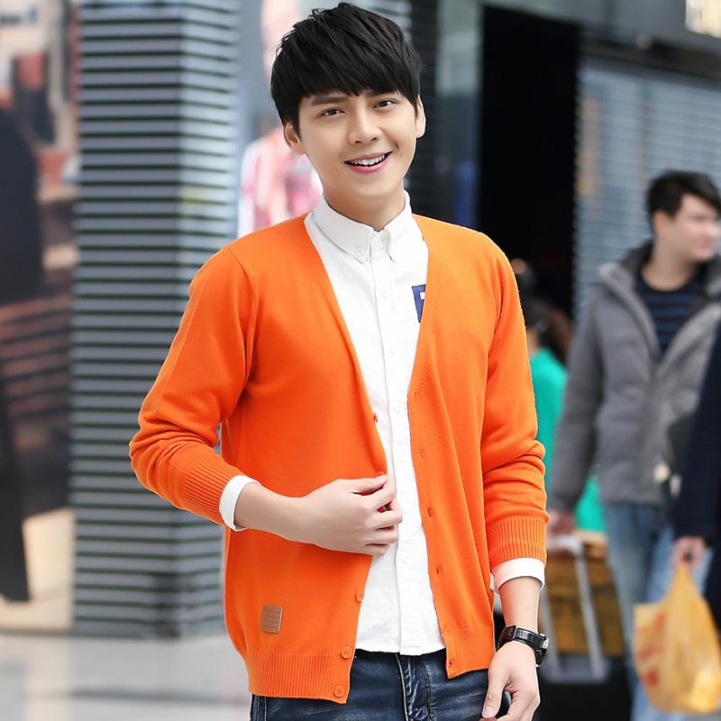 春季针织衫男开衫外套潮大码V领修身型学生线衣薄款男士毛衣韩版