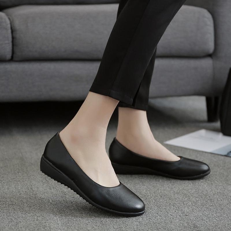 低跟工作鞋女职业平底圆头坡跟单鞋女黑色工鞋女鞋大码中跟皮鞋40
