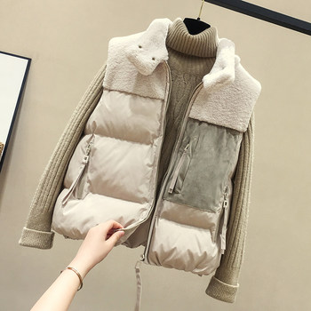 Down cotton vest female short paragraph Korean version of spring and autumn vest vest waistcoat 2020 new lambs wool coat stitching