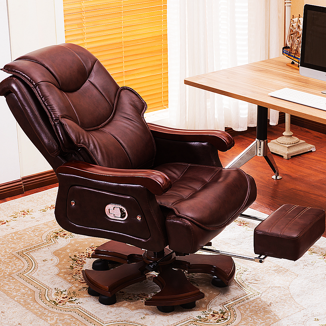 Home Reclining Head Layer Cowhide Leather Swivel Chair Master Chair Office  Chair Computer Chair Large Chair