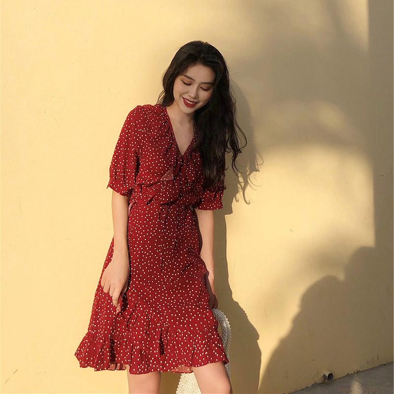 连衣裙2019新款夏流行裙子仙女超仙森系收腰显瘦气质厌世风桔梗裙