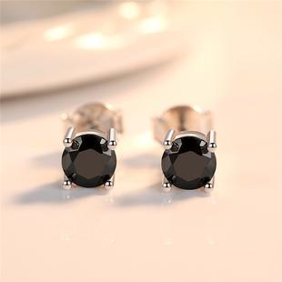 S925银黑色耳钉女气质韩国耳环