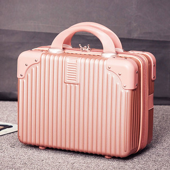 Retro mini suitcase 14 inch makeup box wedding dowry travel small box makeup bag boarding suitcase female