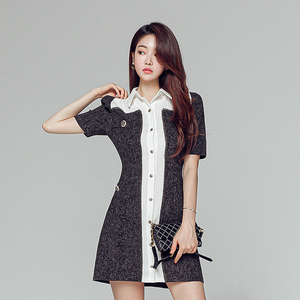 FS89376# 韩版翻领V领拼色短袖单排扣粗布修身连衣裙 服装批发女装直播货源