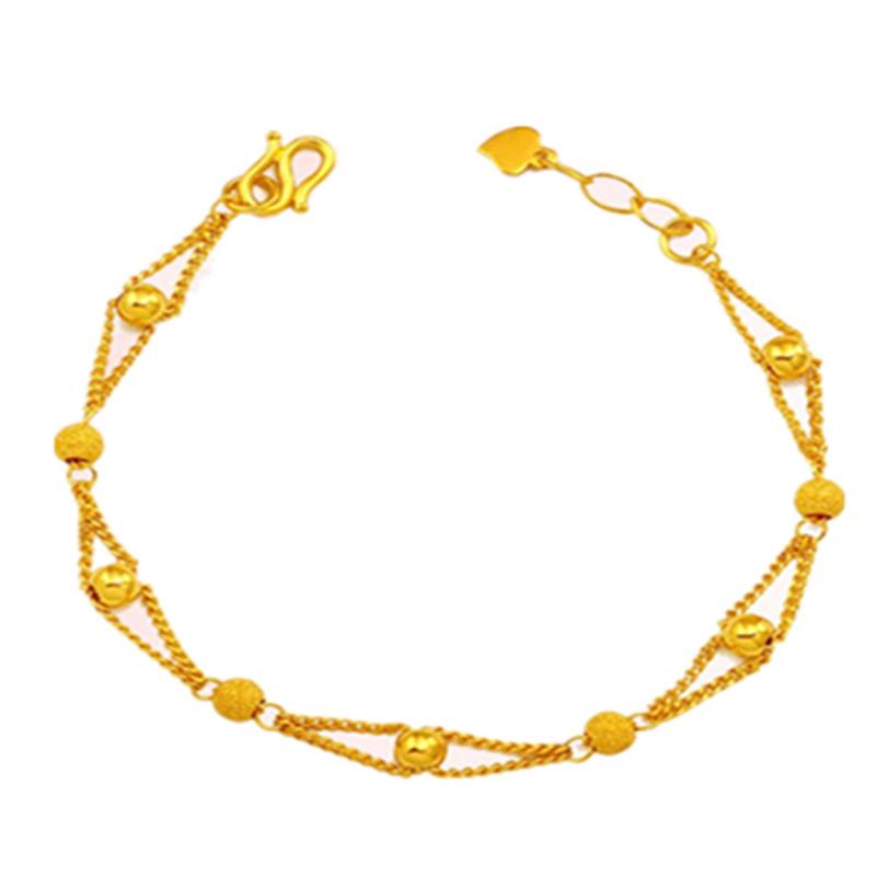 香港珠宝时尚ξ流行款转运珠黄金手链女款黄金手饰运转珠手链女首饰