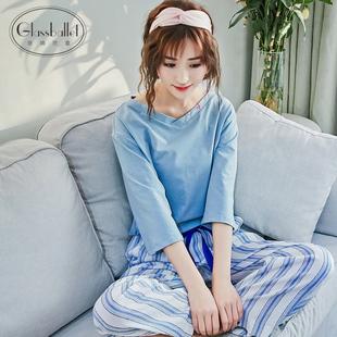 春秋季女纯棉两件套睡衣套装可外穿家居服