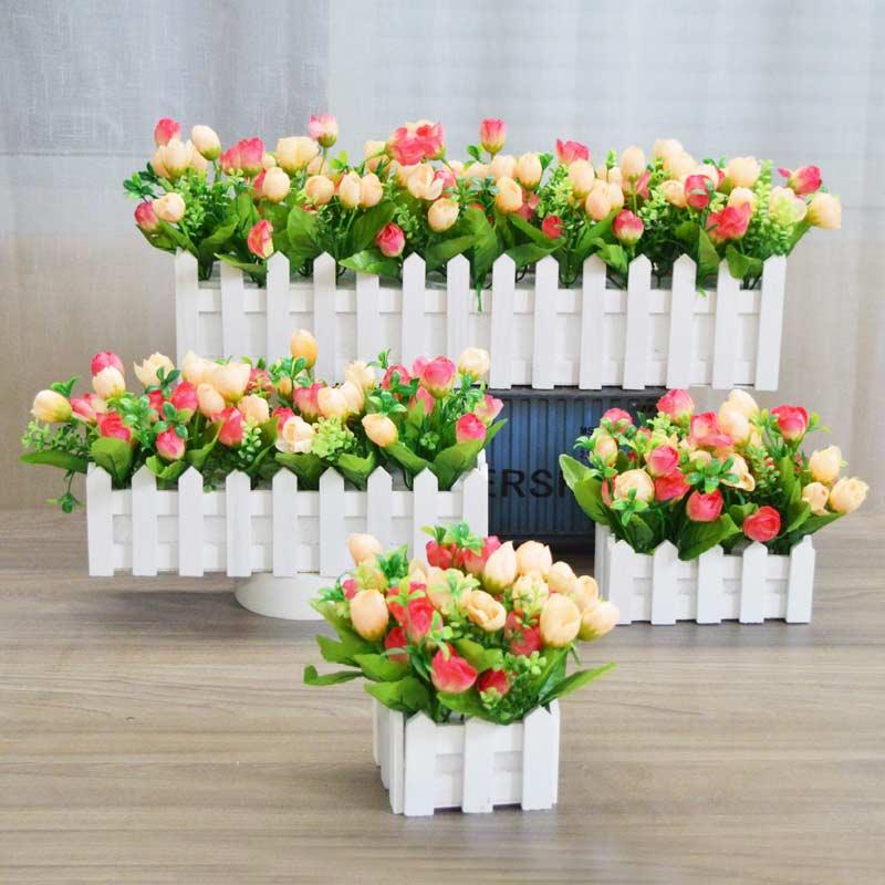 Hoa nhân tạo Hoa lụa Hoa nhựa Sắp xếp Hoa hồng Hàng rào Hoa nhân tạo Đặt phòng khách Trang trí nhà Trang trí - Hoa nhân tạo / Cây / Trái cây