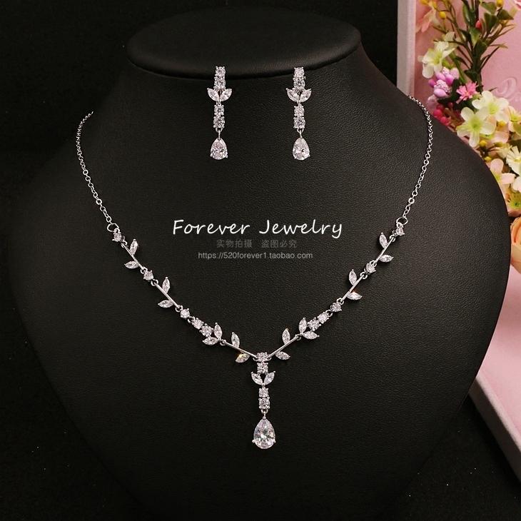 148515c48 ... korean exquisite simple bride zircon wedding handmade jewelry necklace  earrings set wedding dress dinner jewelry taobao ...