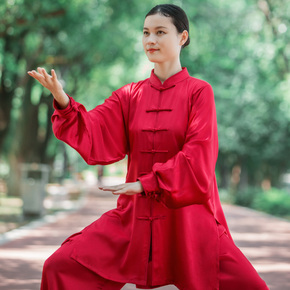 Women's new style elegant Taijiquan martial arts competition performance training suit men's Silk