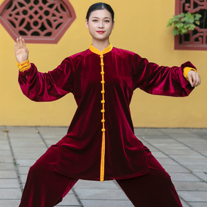 Tai chi clothing chinese kung fu uniforms South Korean cashmere Tai Chi Clothing clothing for women autumn and winter thickened Plush Tai Chi Clothingquan training clothing for men season