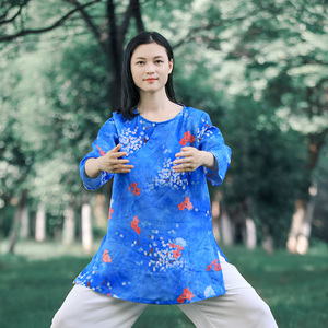 Tai chi clothing chinese kung fu uniforms Tai Chi Clothing clothing women new elegant Tai Chi Clothingquan training clothing summer thin Chinese style ramie short sleeve fashion